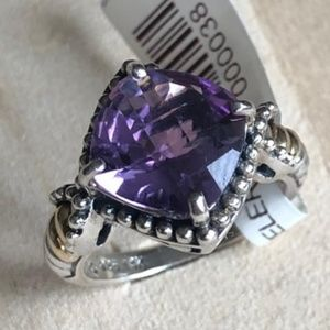 Sterling Silver with 14k Antiqued Amethyst Ring